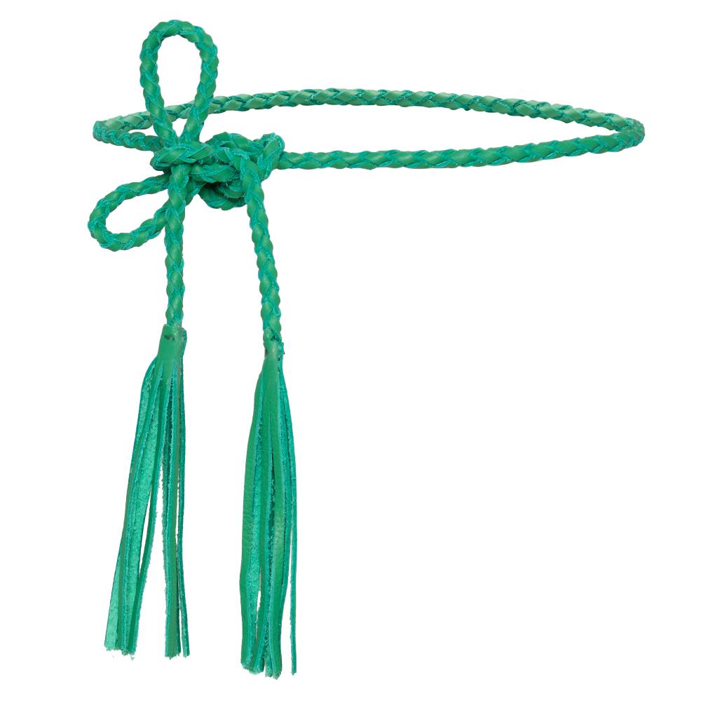 Cinto de Couro Cordão Trançado Verde com Franjas