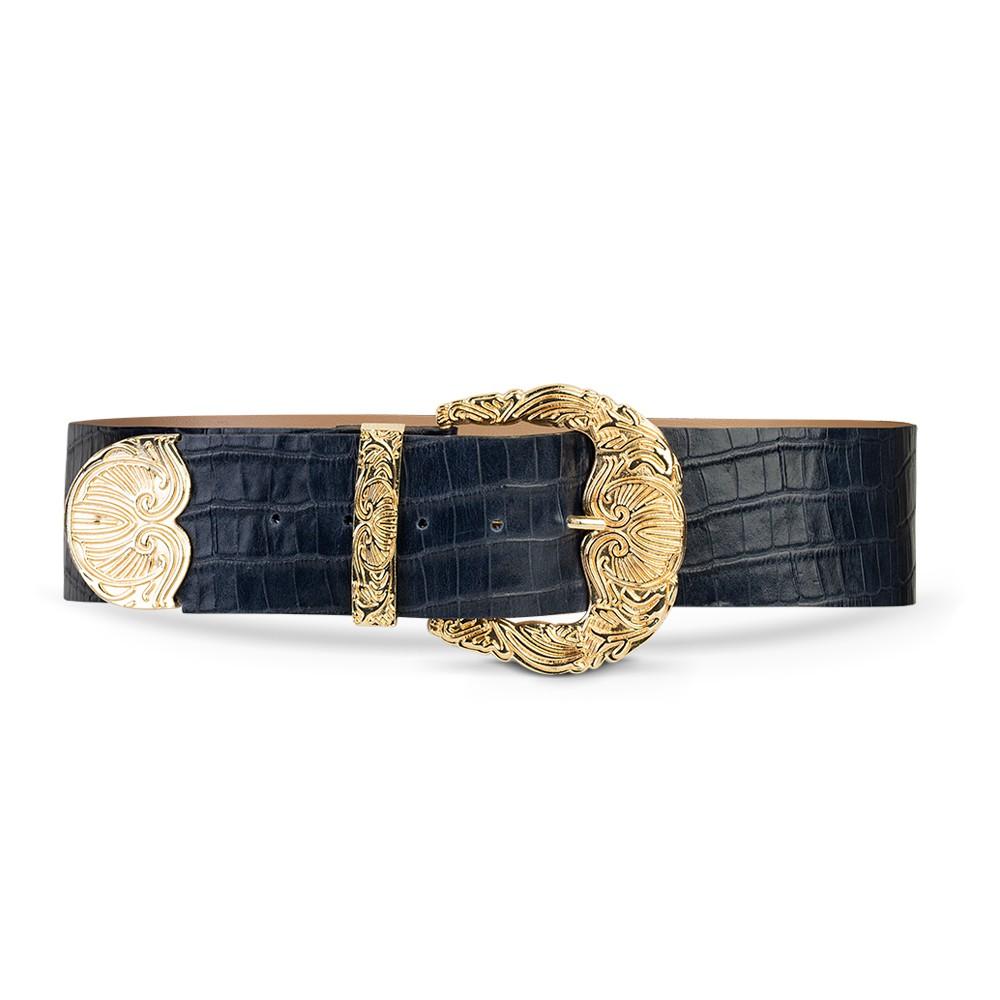 Cinto de Couro Croco Azul Marinho com Maxi Fivela Dourada Trabalhada