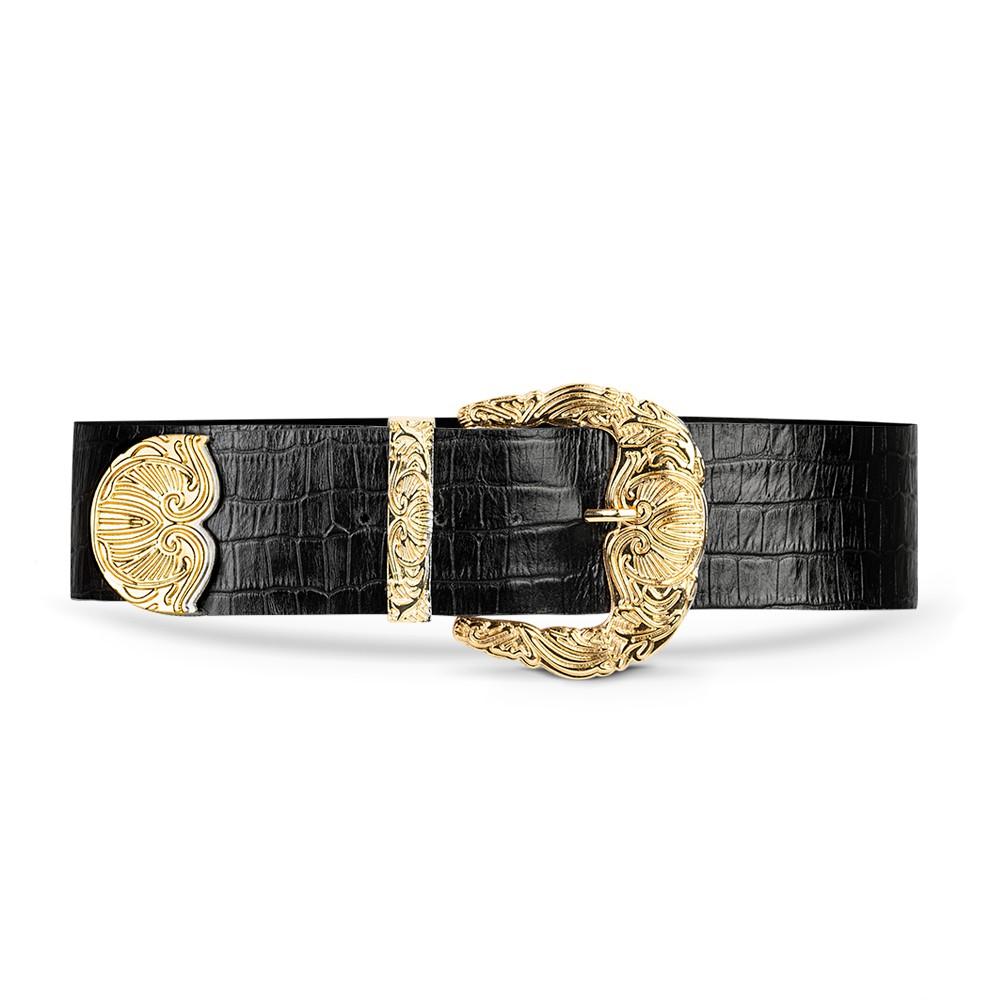 Cinto de Couro Croco Preto com Maxi Fivela Dourada Trabalhada