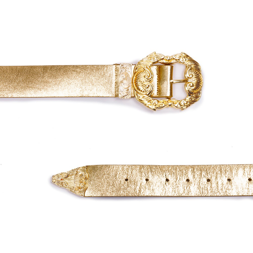 Cinto de Couro Metalizado Dourado com Fivela Dourada Trabalhada
