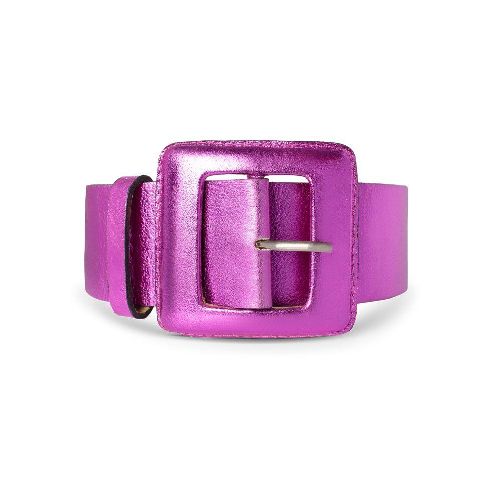 Cinto de Couro Metalizado Pink com Fivela Quadrada Revestida
