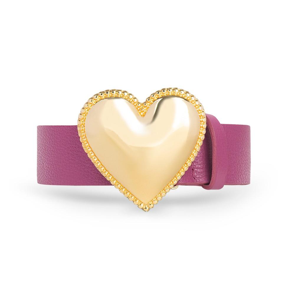 Cinto de Couro Pink com Fivela de Coração em Metal Dourada