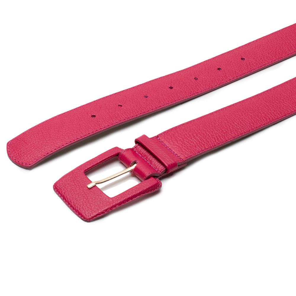 Cinto de Couro Pink com Fivela Quadrada Revestida