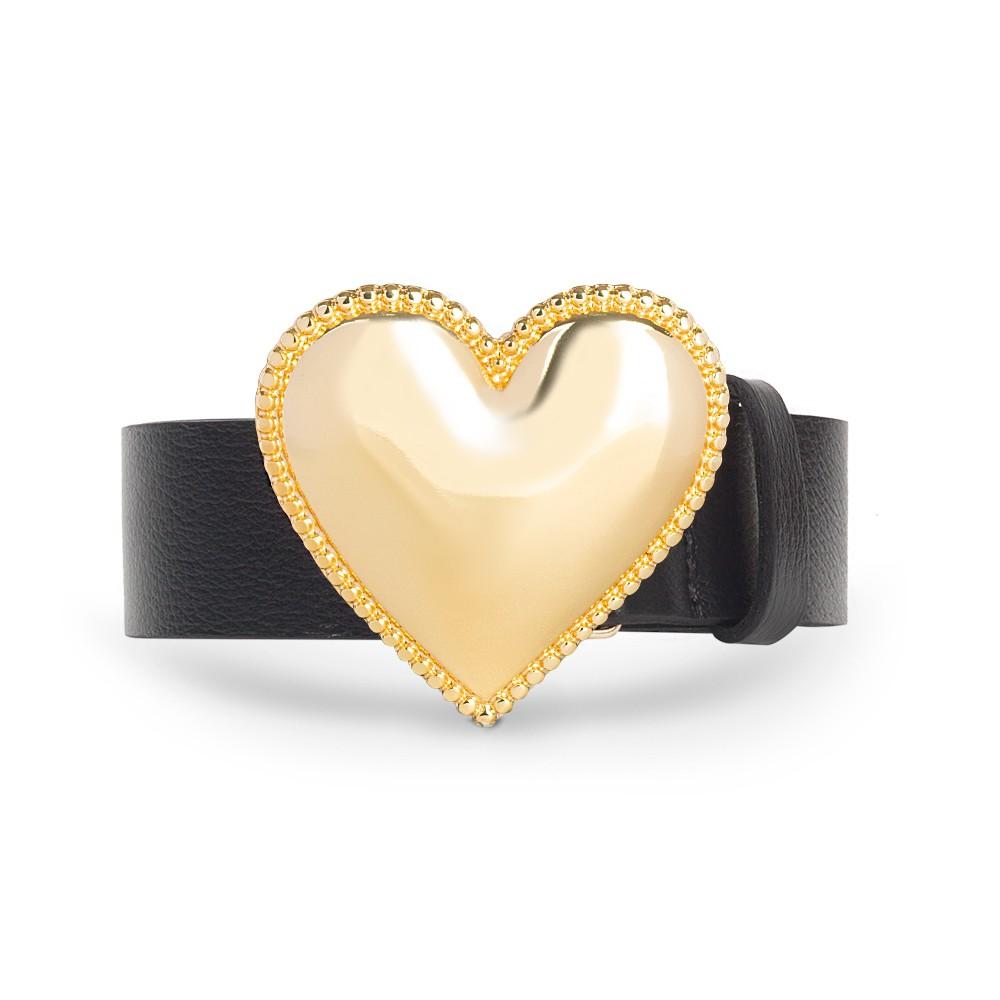 Cinto de Couro Preto com Fivela de Coração em Metal Dourada