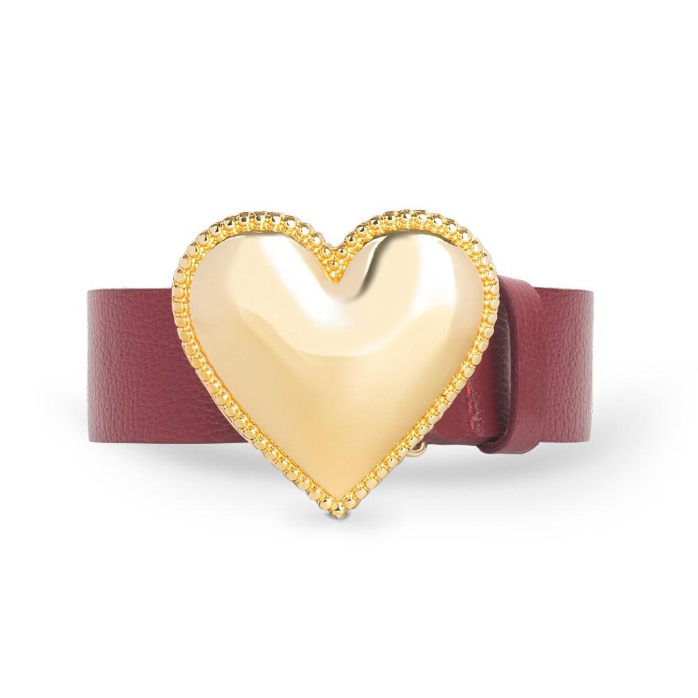 Cinto de Couro Vermelho com Fivela de Coração em Metal Dourada
