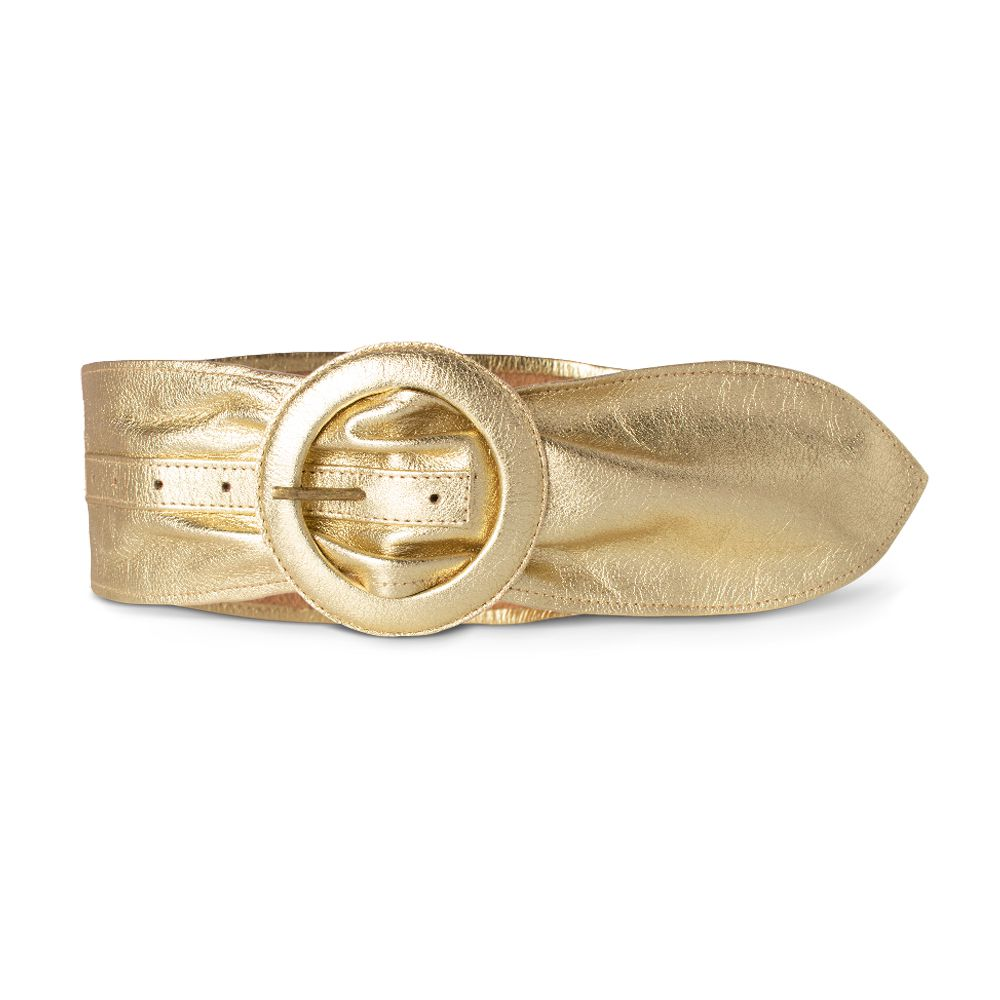 Cinto Faixa de Couro Metalizado Ouro com Fivela Redonda Revestida