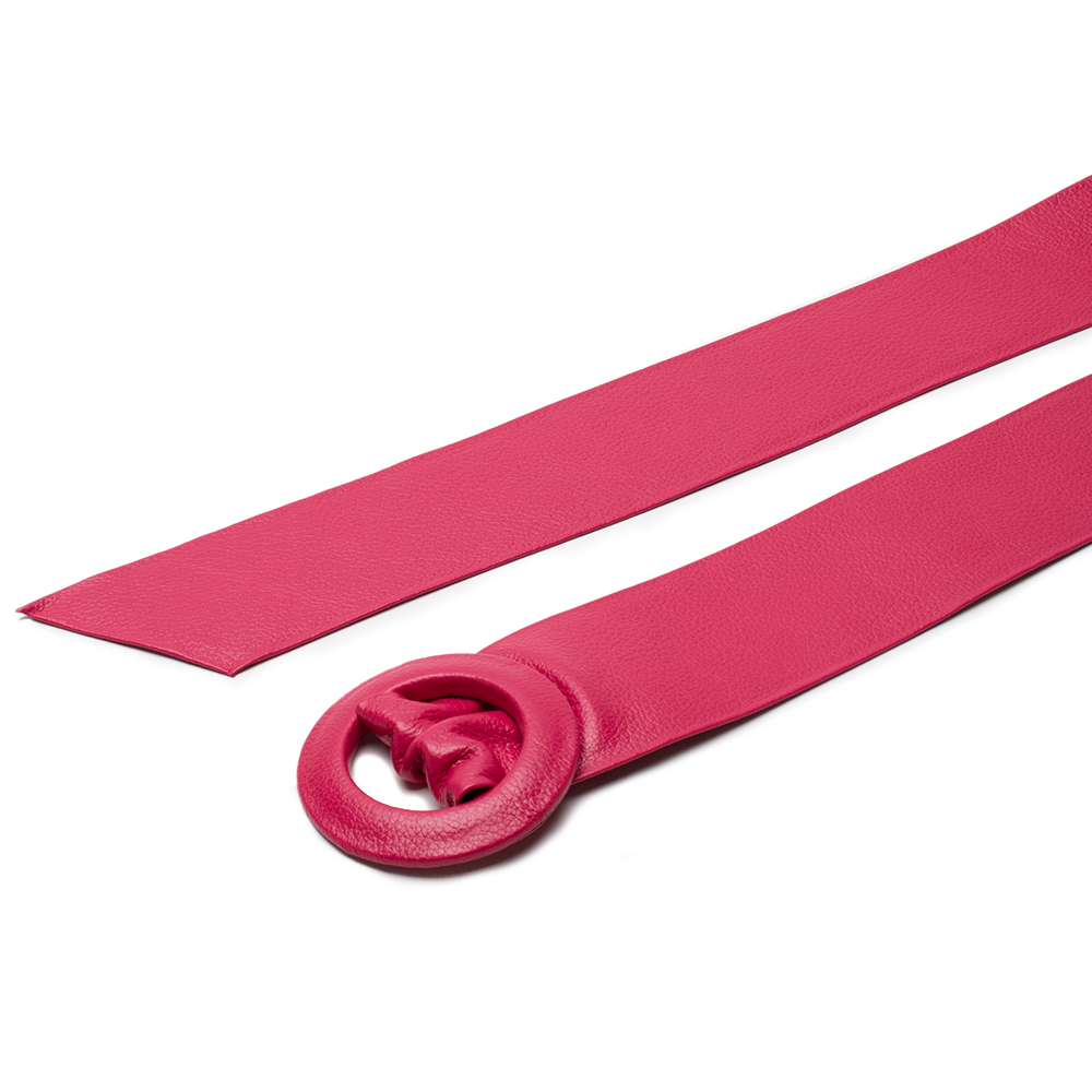 Cinto Faixa de Couro Pink com Fivela Redonda Revestida