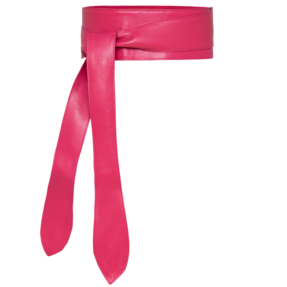 Cinto Faixa Obi de Couro Pink com Amarração