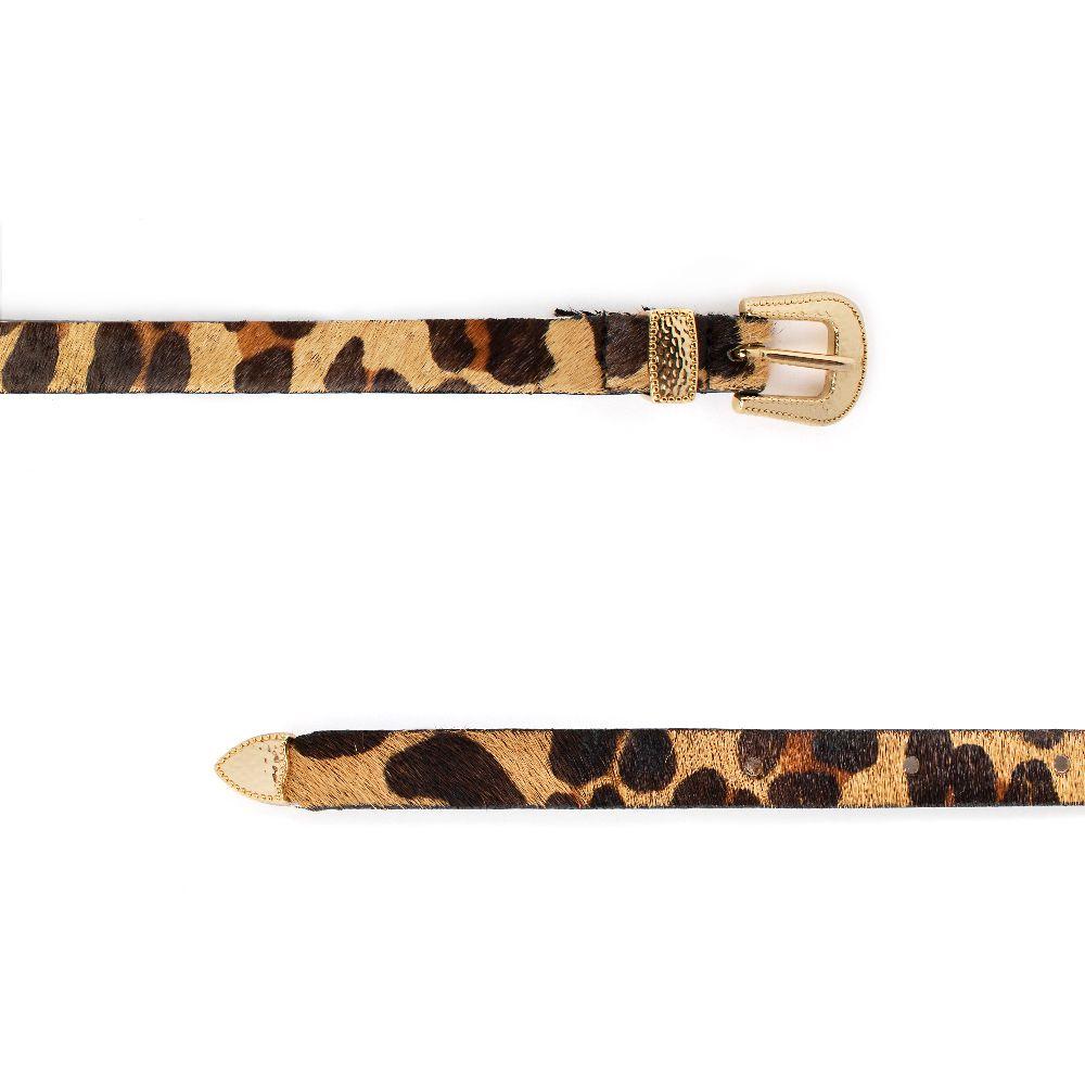 Cinto Fino de Couro Animal Print Onça com Fivela e Ponteira Dourada