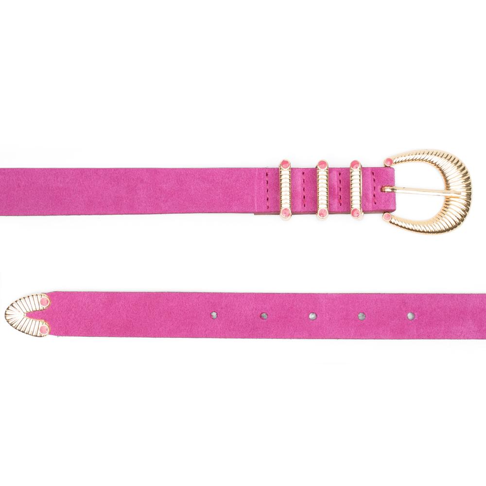 Cinto Fino de Couro Camurça Pink com Fivela e Passantes de Metal Dourado