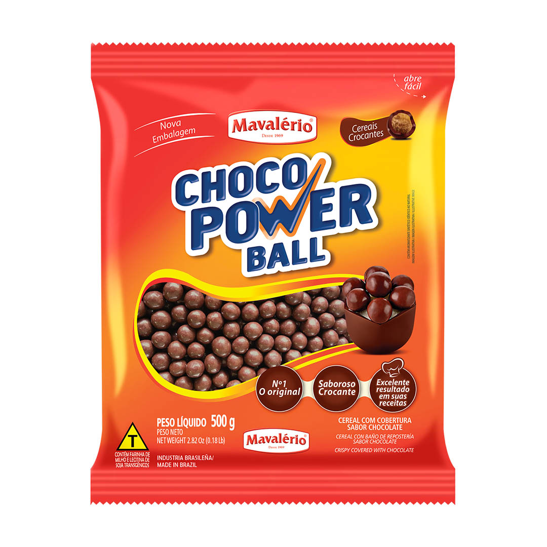 CEREAL CHOCO POWER BALL AO LEITE GRANDE 500G MAVALÉRIO