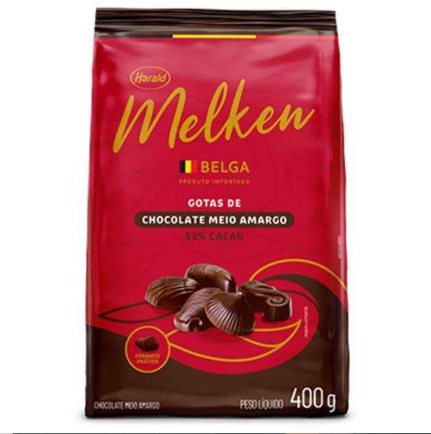 CHOCOLATE MELKEN MEIO AMARGO BELGA 400G HARALD