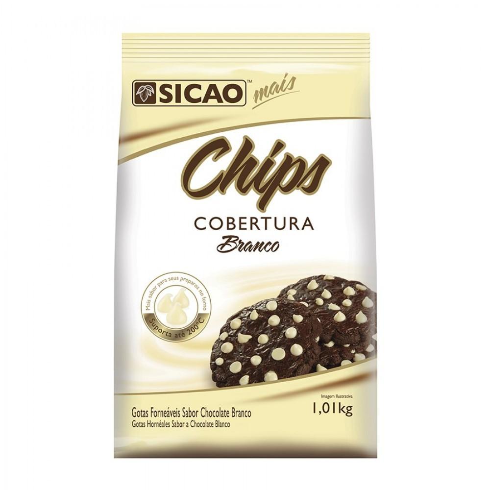 COBERTURA SABOR CHOCOLATE BRANCO CHIPS 1,01KG SICAO