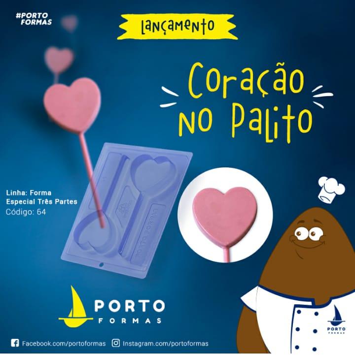 FORMA DE ACETATO COM SILICONE CORAÇÃO NO PALITO ESPECIAL
