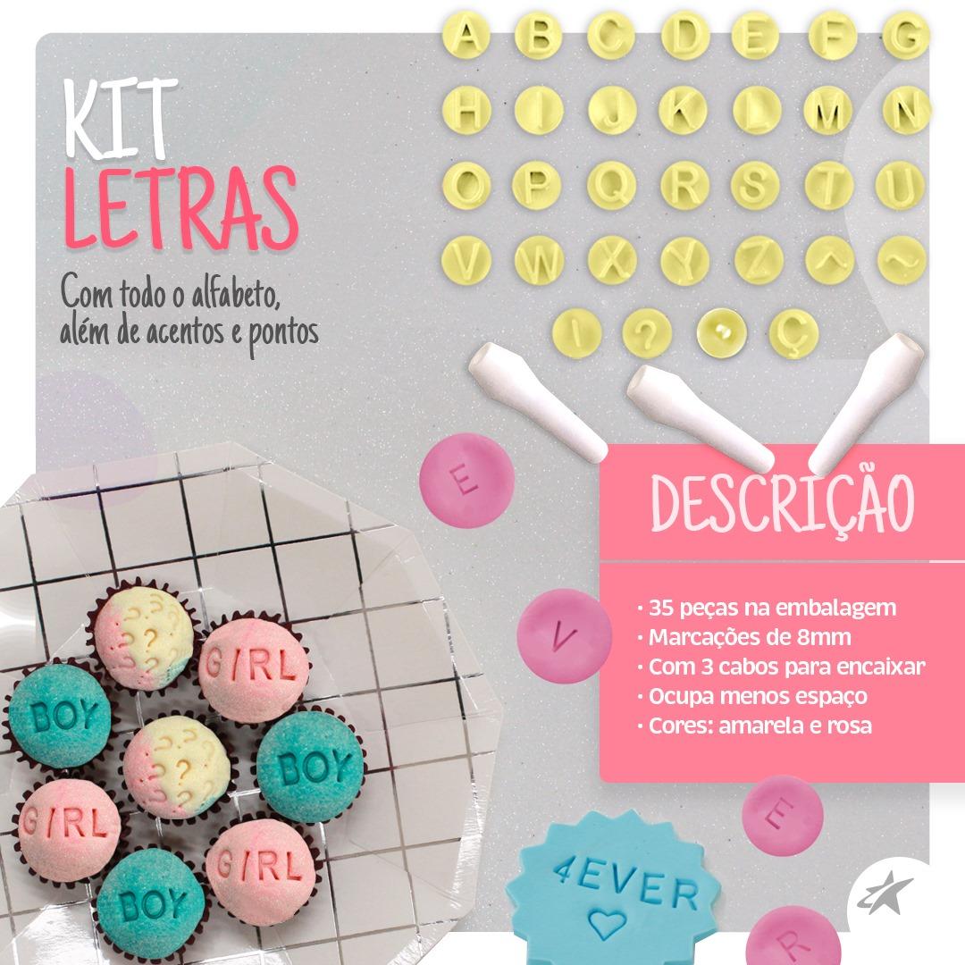 KIT CARIMBOS LETRAS 35 PEÇAS BLUESTAR