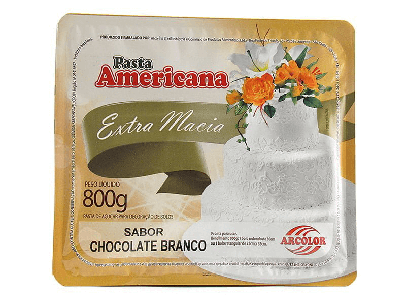 PASTA AMERICANA SABOR CHOCOLATE BRANCO 800G ARCOLOR