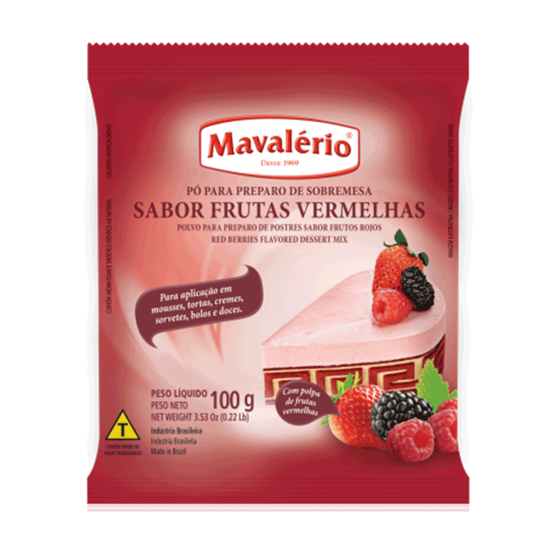 PÓ PARA PREPARO DE SOBREMESAS FRUTAS VERMELHAS 100G MAVALERIO