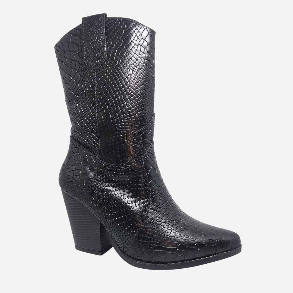 Bota Country Ankle Boots bico fino cano médio