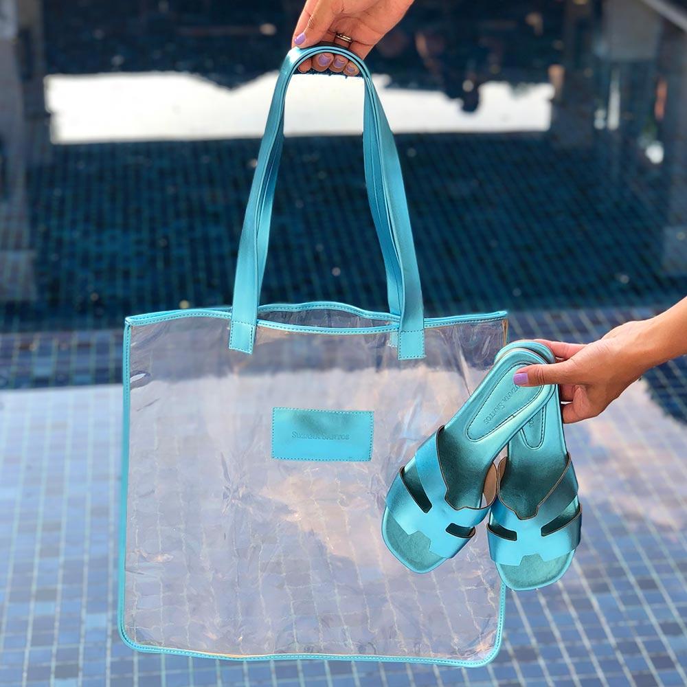KIT Sandália rasteira + Sacola transparente