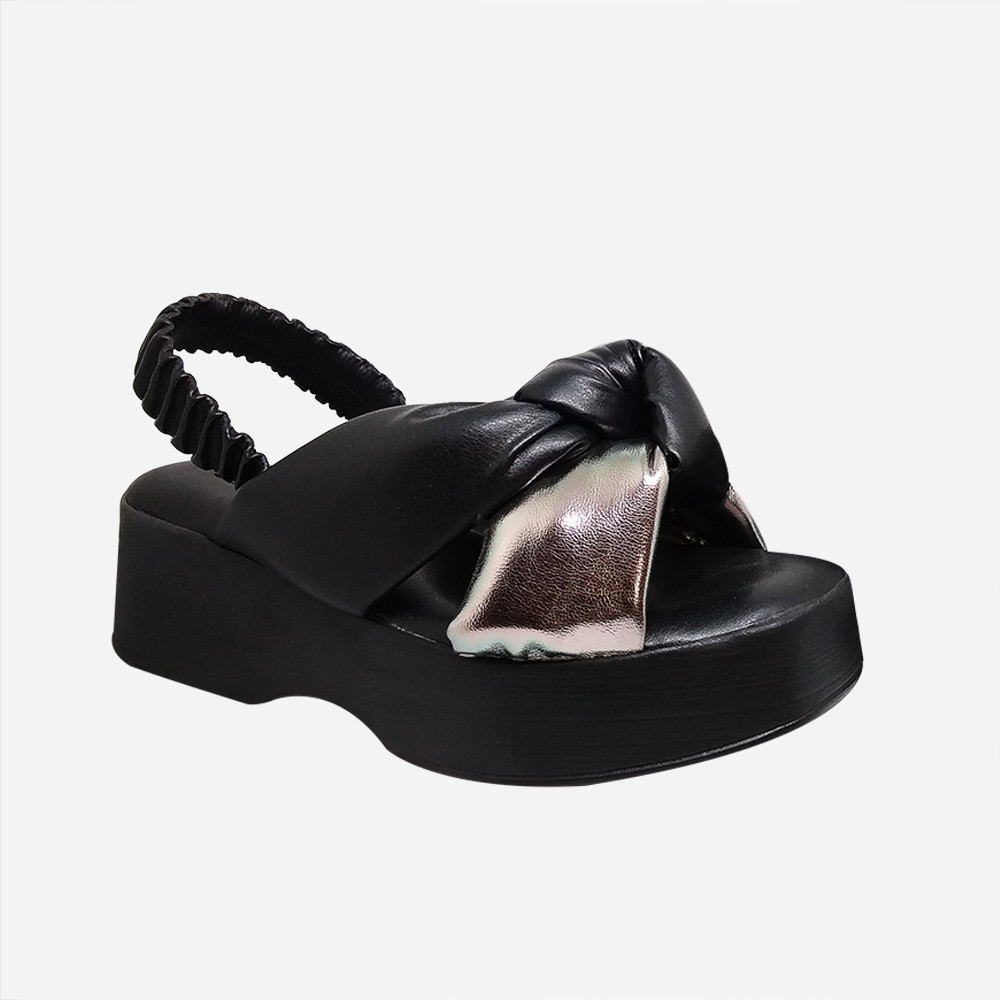 Sandália Flatform c/ tiras e detalhe nó