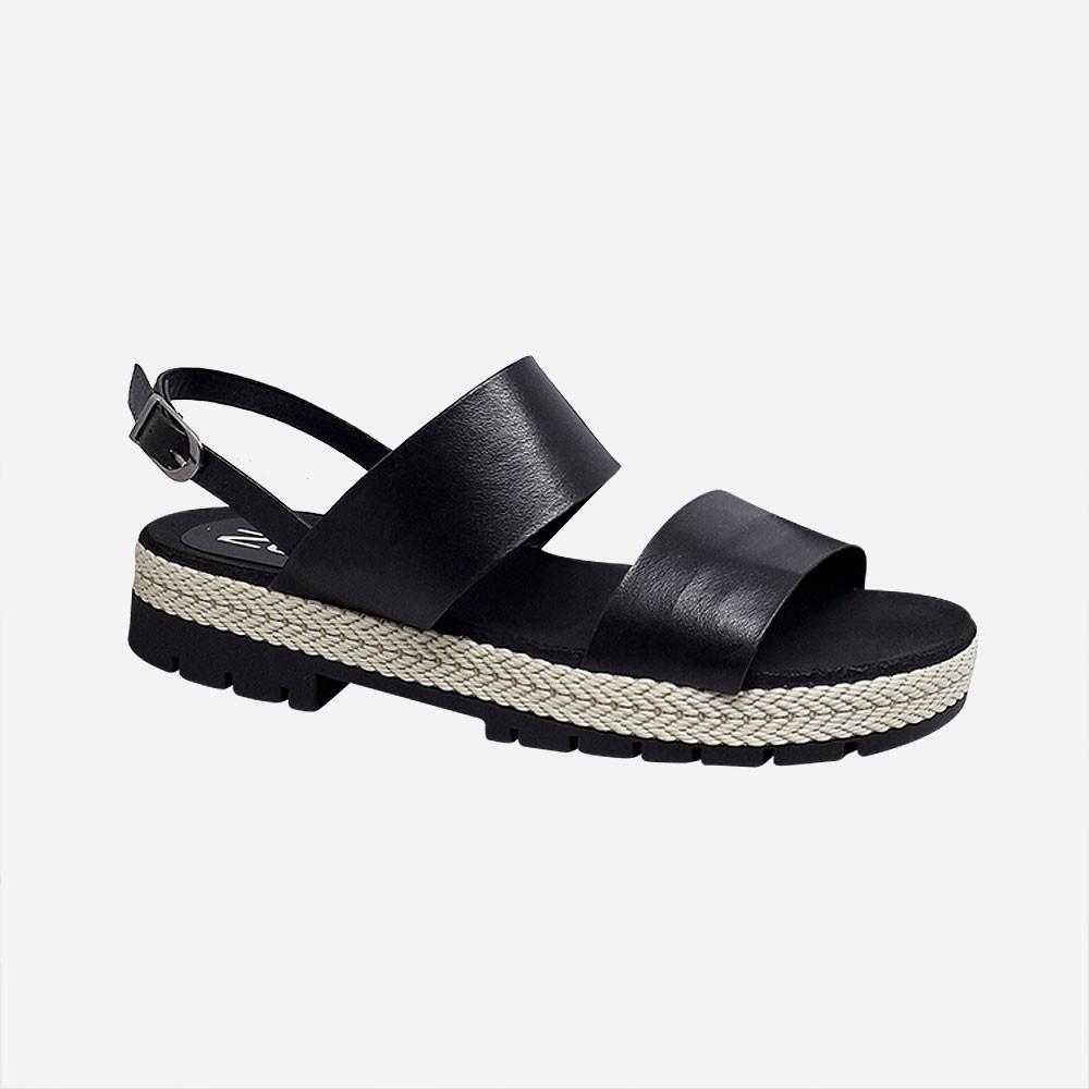 Sandália flatform conforto com duas tiras largas com detalhe corda solado