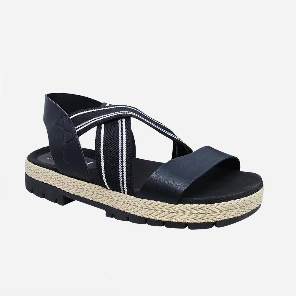 Sandália flatform conforto com tiras em elástico