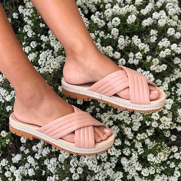 Sandália Flatform Conforto sola baixa c/ corda