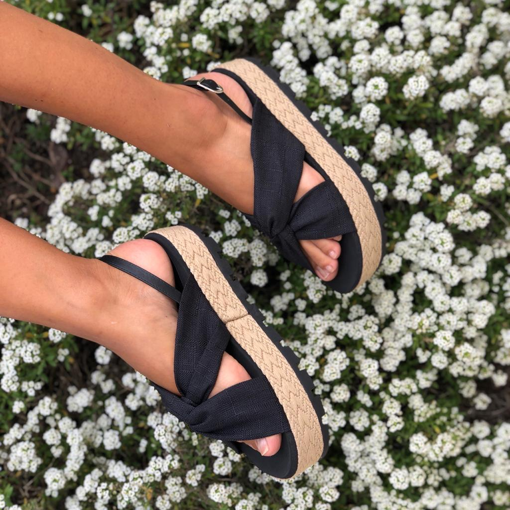 Sandália Flatform sola média c/ corda