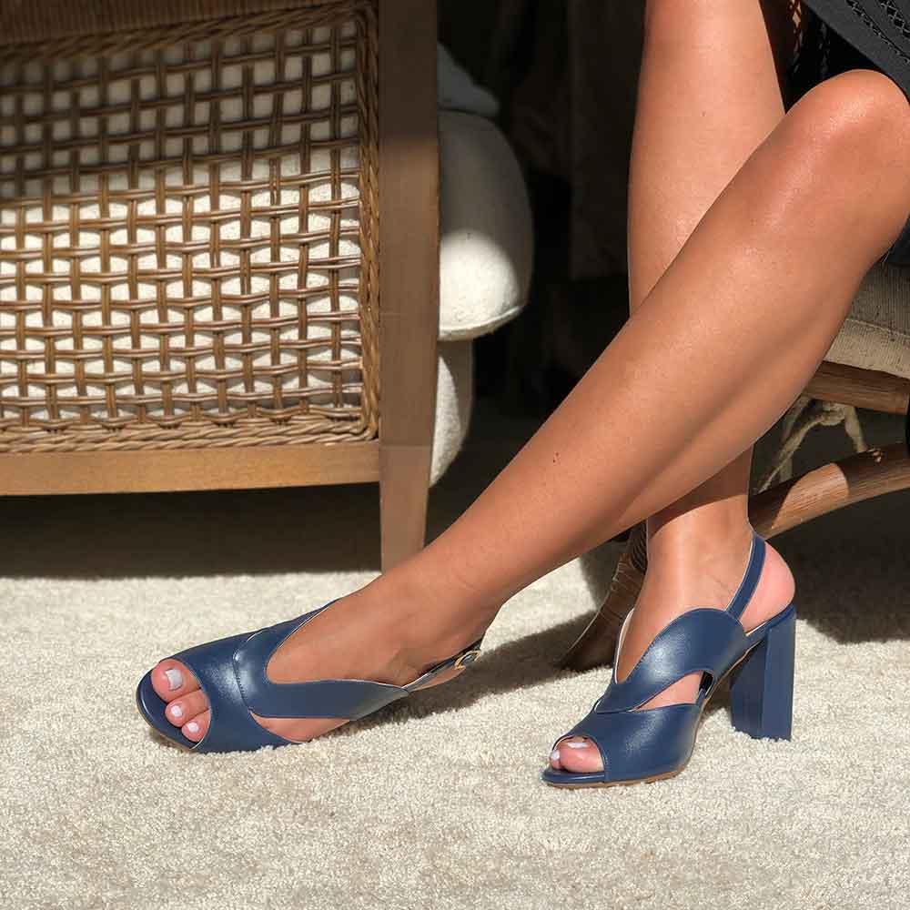 Sandália Sandal Boot Napa salto médio grosso