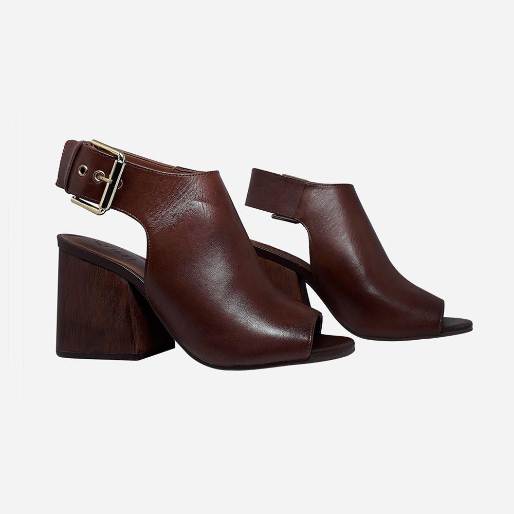 Sandália Sandal Boot salto alto grosso