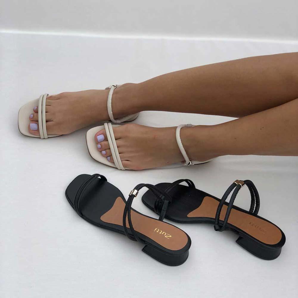 Sandália Tamanco 2 em 1 salto baixo com tiras finas