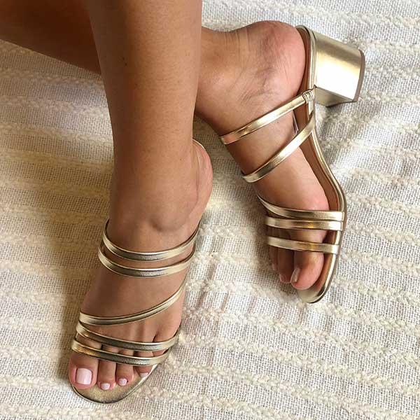 Sandalia Tamanco Amalfi com tiras finas