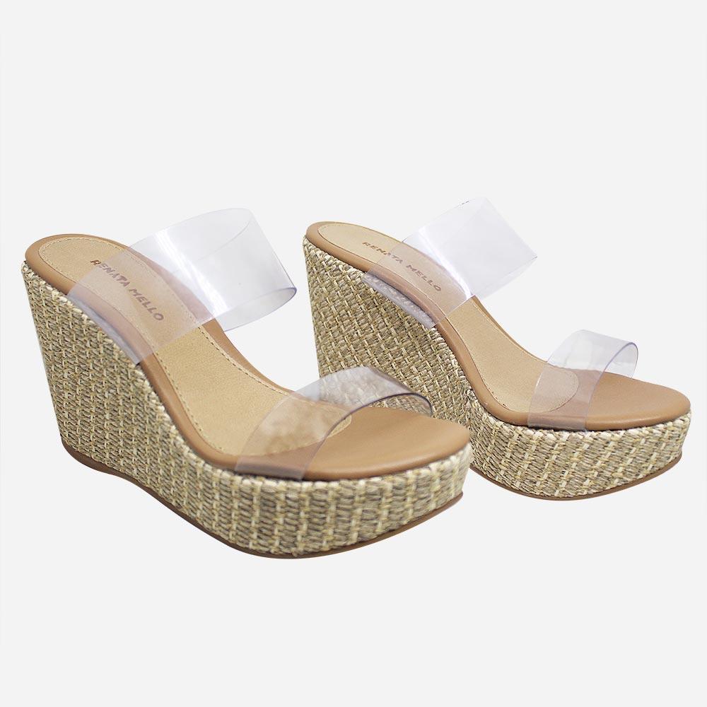 Sandália tamanco anabela com tira vinil altura média