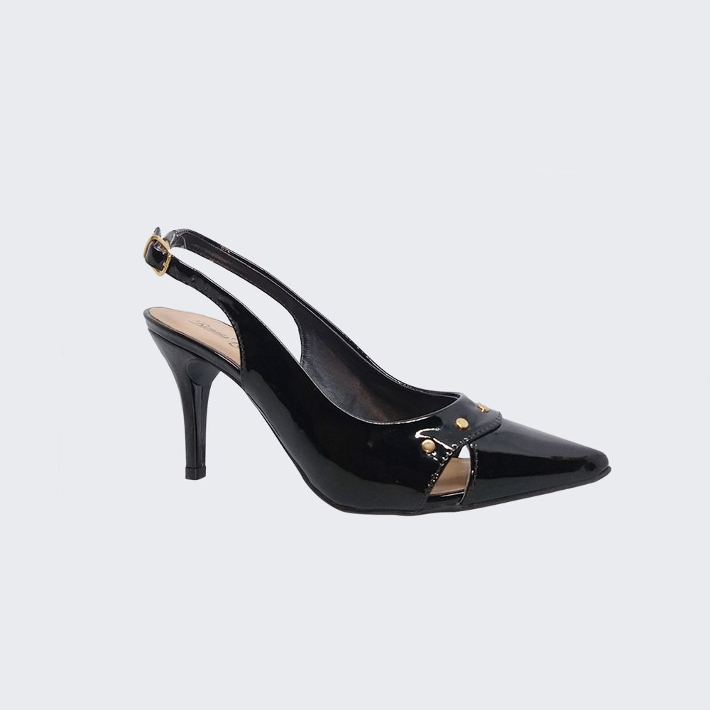 Sapato estilo Chanel bico fino salto médio fino