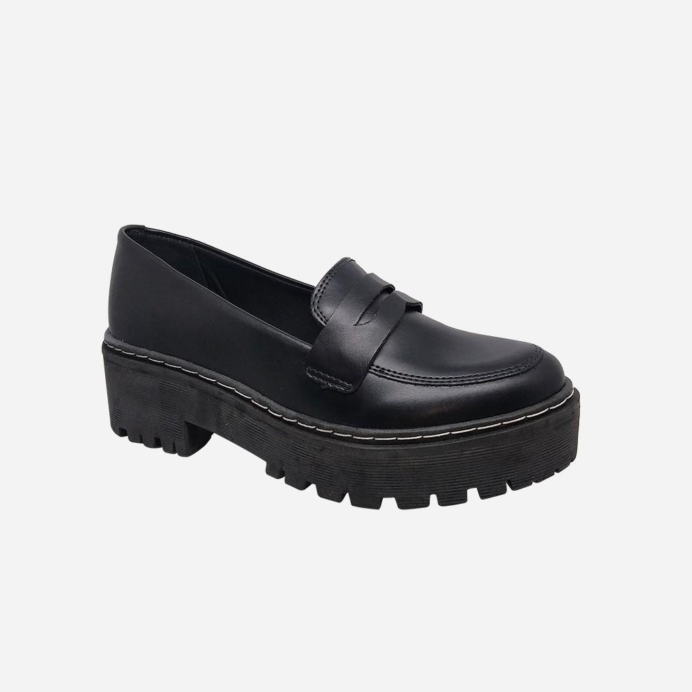 Sapato mocassim sola alta tratorado bico redondo