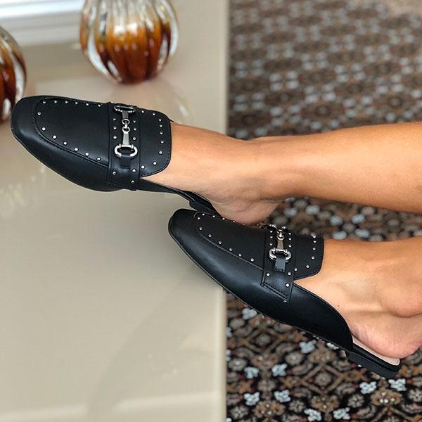 Sapato mule bico quadrado