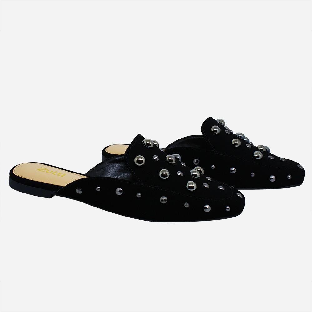 Sapato mule bico quadrado c/ apliques