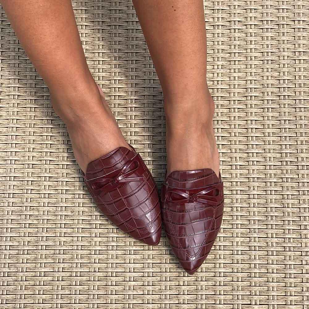Sapato Mule com detalhe laço