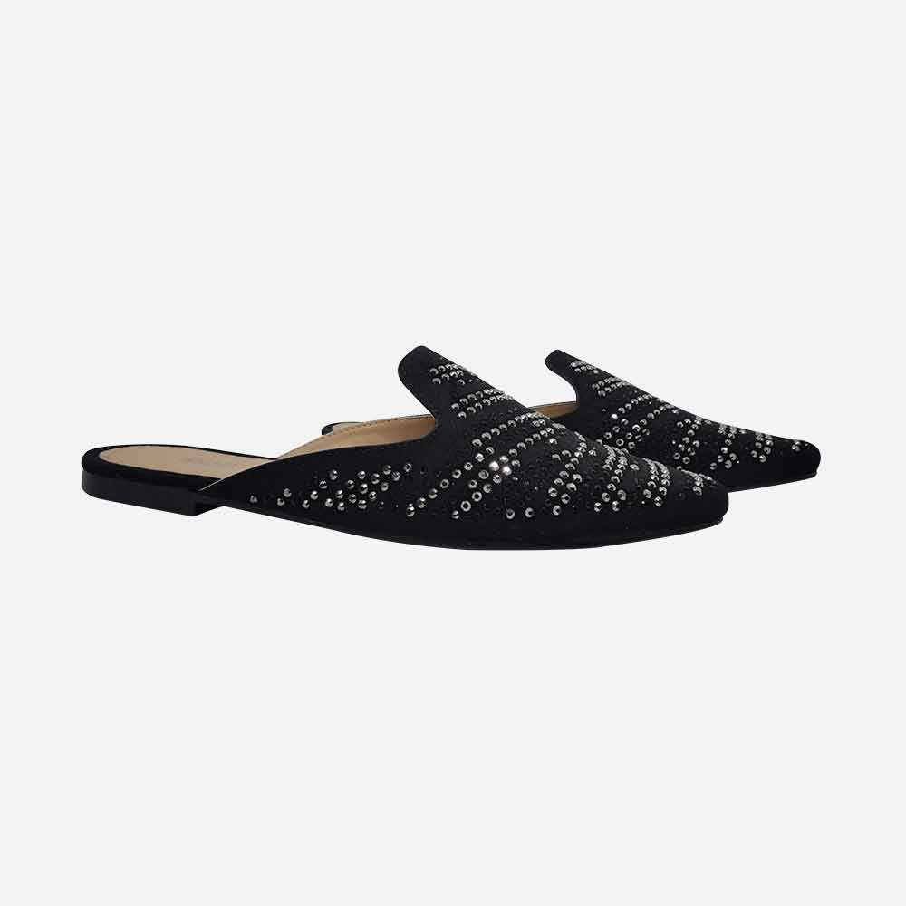 Sapato Mule com detalhes em hotfix