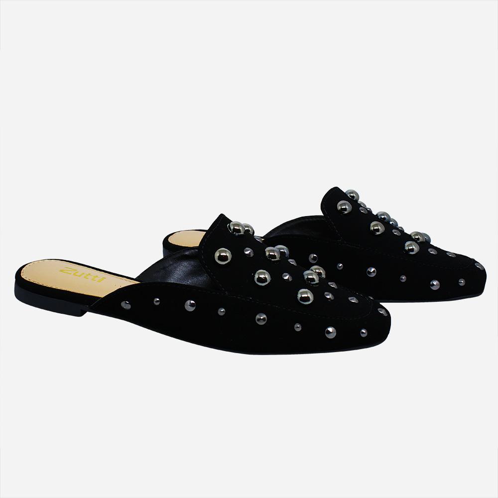 Sapato mule forma quadrada c/ apliques