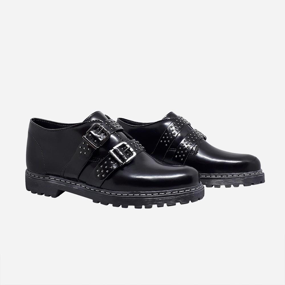 Sapato Oxford c/ detalhes de tiras e fivela
