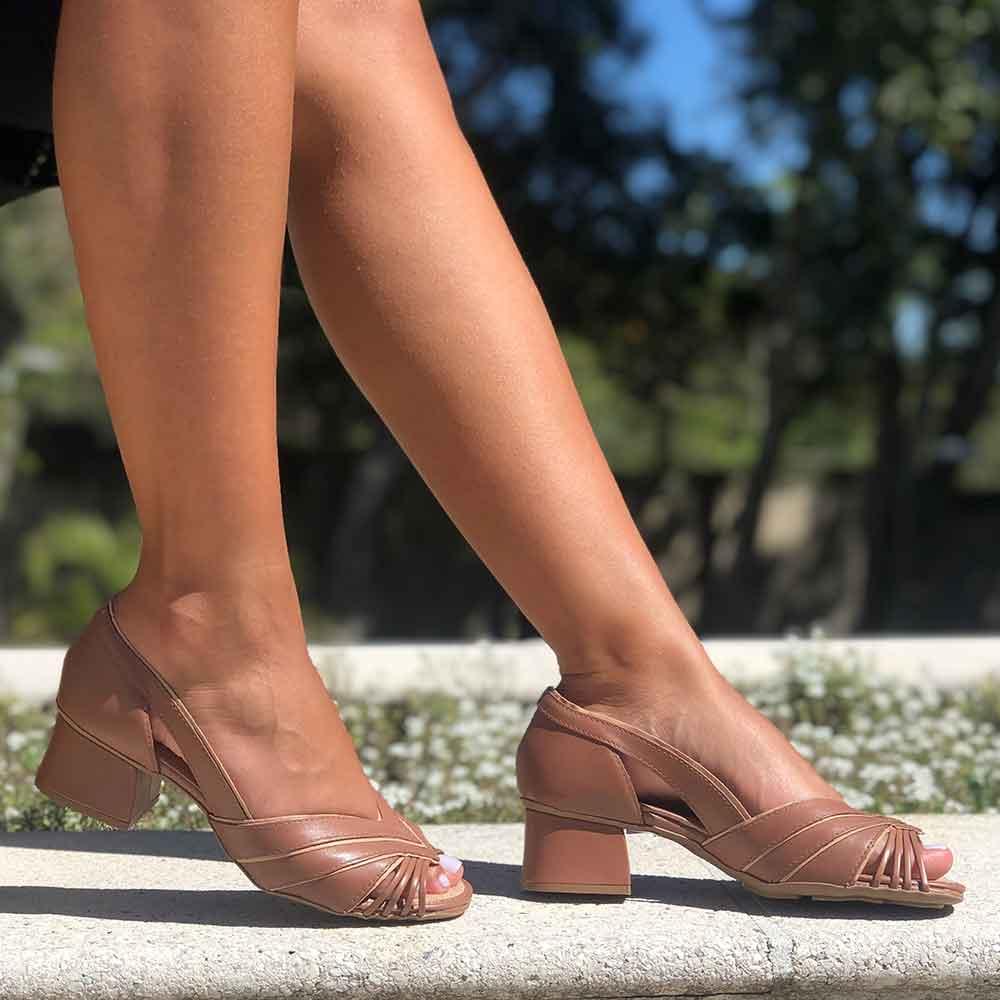 Sapato Peep Toe conforto salto baixo grosso