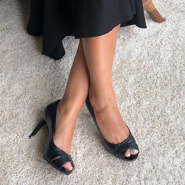 Sapato Peep Toe salto alto fino