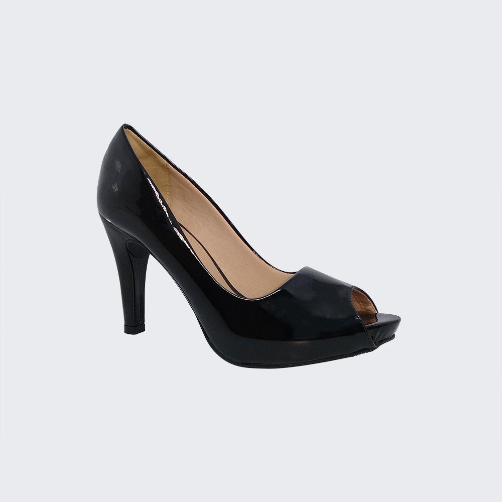 Sapato Peep Toe salto fino médio