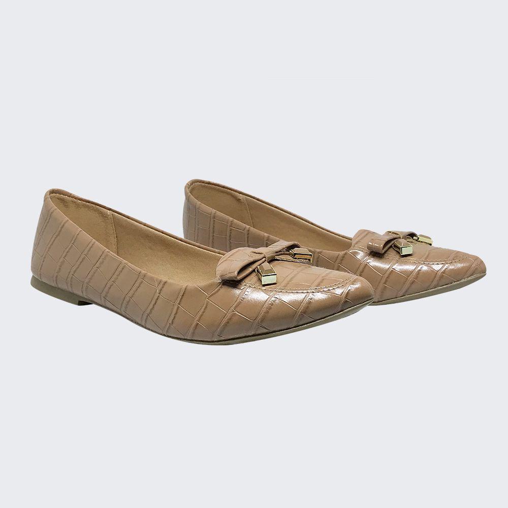 Sapato Sapatilha bico fino com detalhe de laço