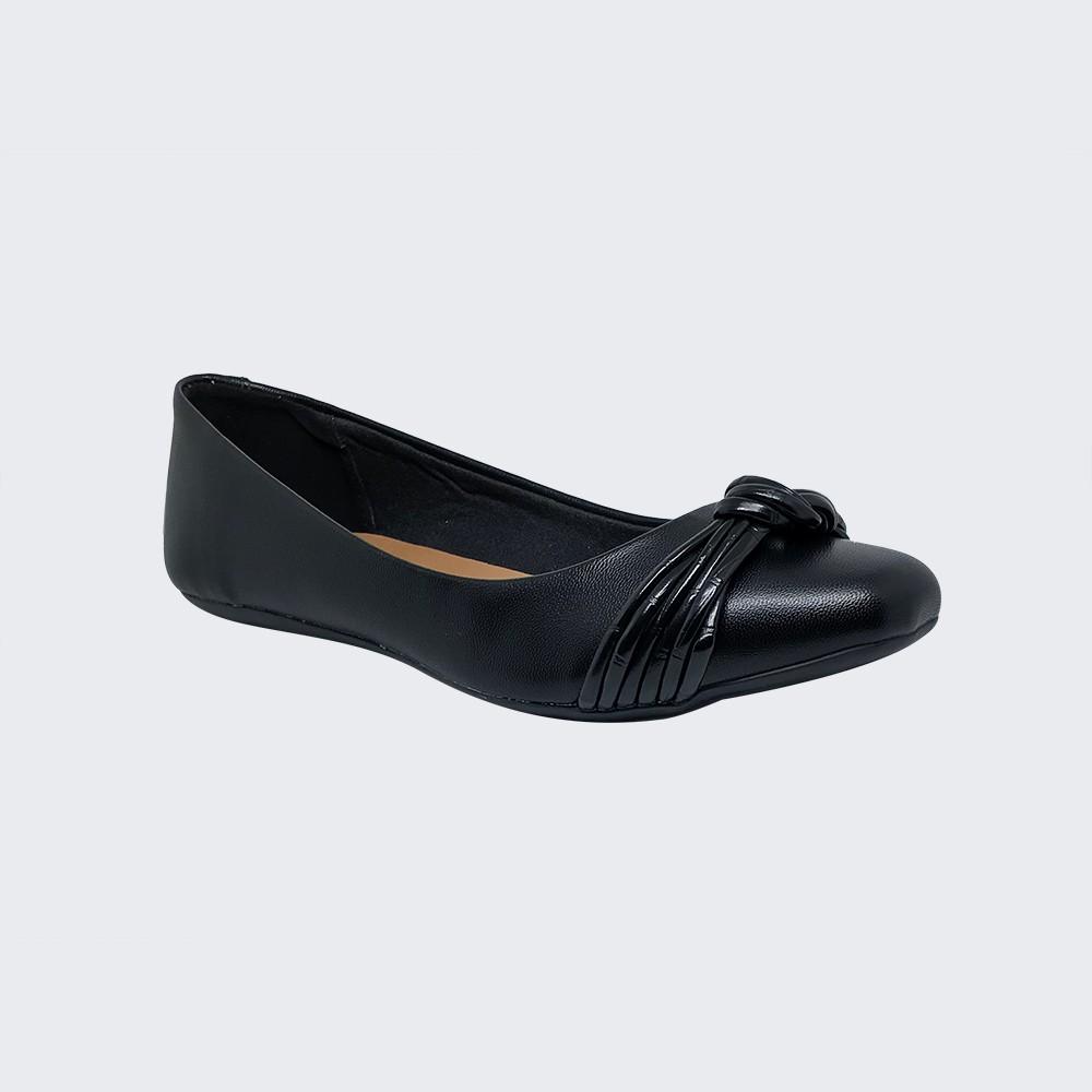 Sapato sapatilha bico quadrado com detalhe em tiras finas e nó