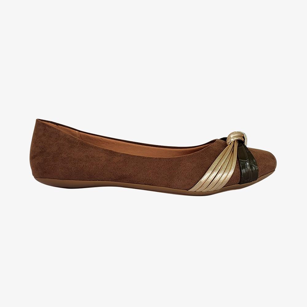 Sapato Sapatilha bico quadrado com detalhes em nó e tiras