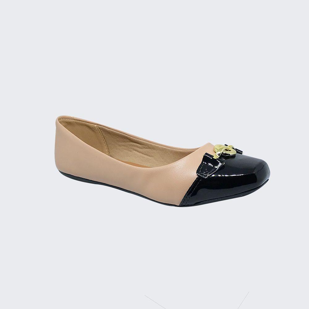 Sapato Sapatilha bico quadrado com enfeite dourado