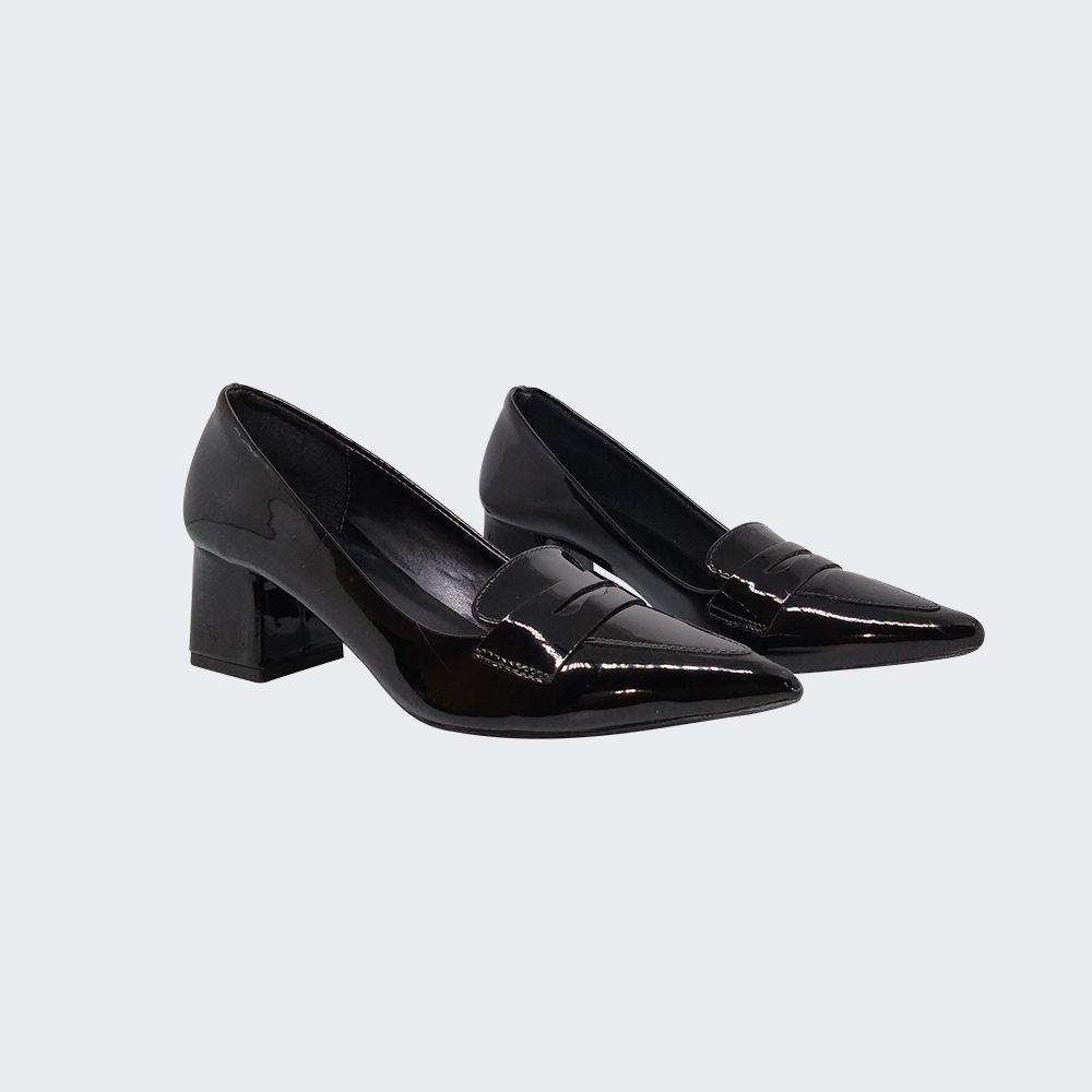 Sapato Scarpin bico fino salto baixo grosso
