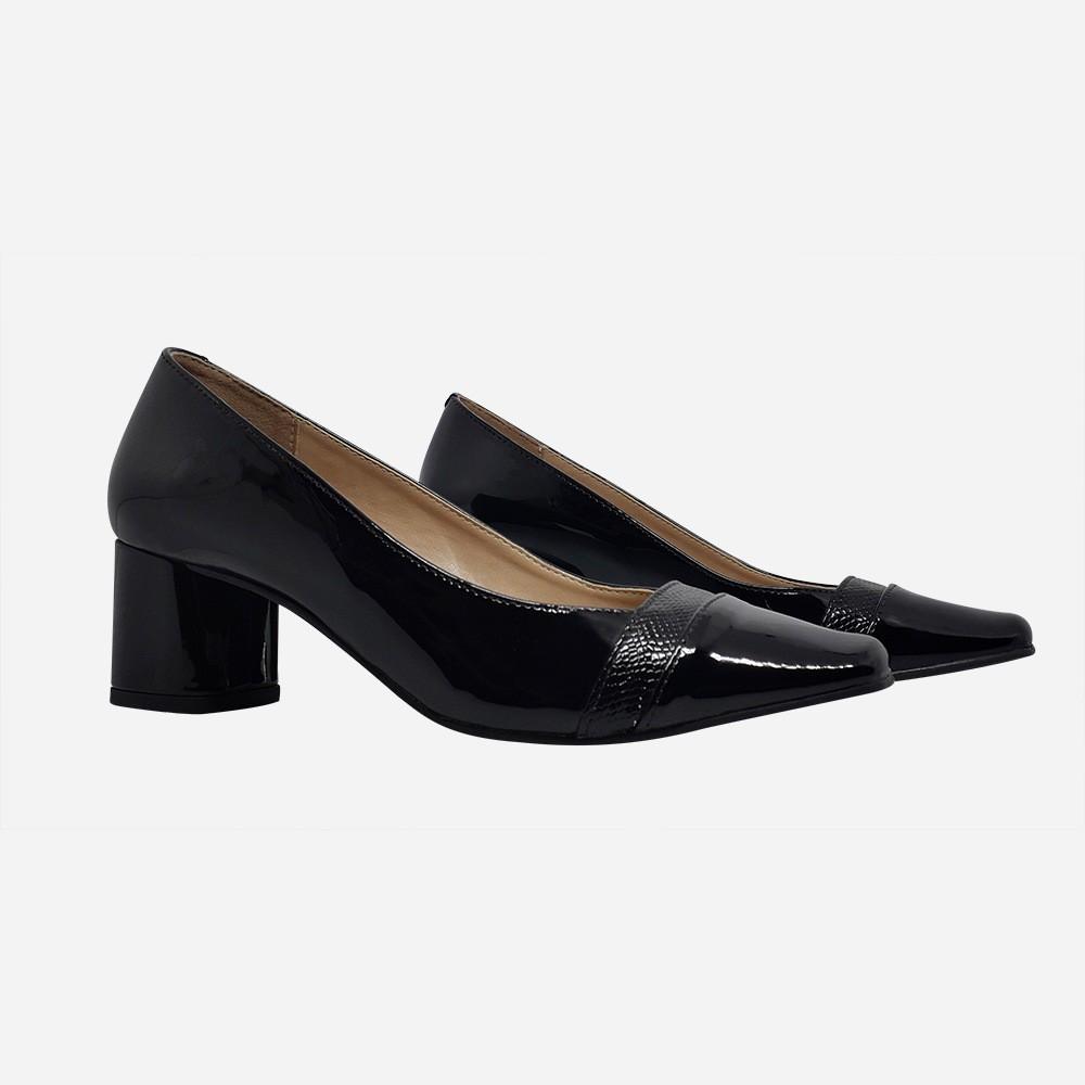 Sapato Scarpin bico quadrado salto médio grosso